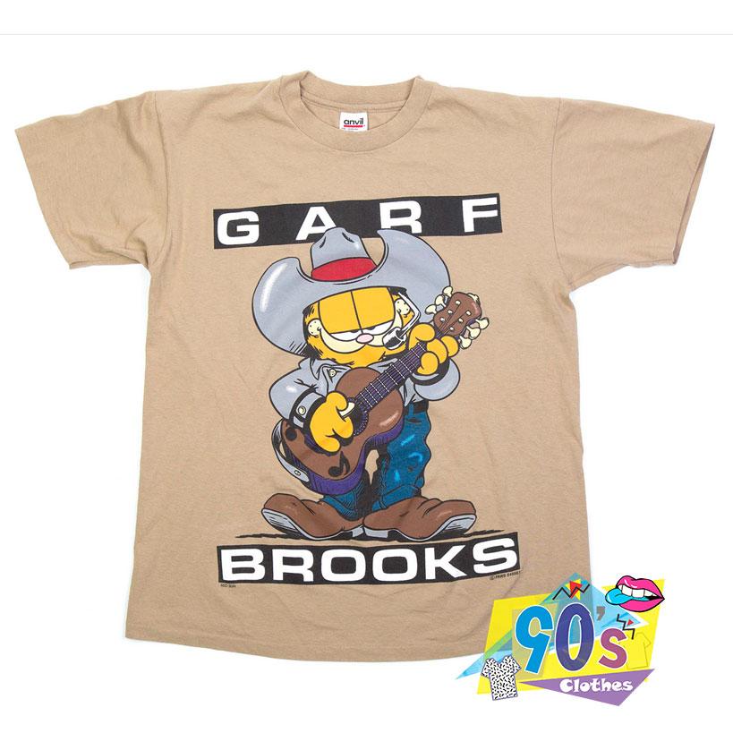 Garth Brooks X Garfield Garf Brooks Vintage Cartoon T Shirt 90sclothes Com