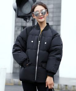 Women Cotton Warm Parkas Casual Loose Bomber Jacket Thick Motorcycle Outwear