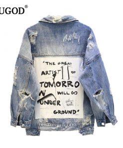 Vintage Fabric Patchwork Denim Bomber Jacket Women Cowboy