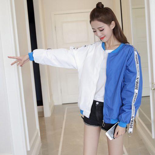 New Women's Basic Jacket Fashion Thin Girl Windbreaker Outwear Bomber Jacket 5