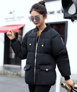 Women Cotton Warm Parkas Casual Loose Bomber Jacket Thick Motorcycle Outwear 1