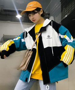 Candy Color Hip Hop Windbreaker Bomber Jacket With Hood For Women