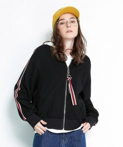 Spring Women's Jacket Oversized Stpried Long Sleeve Bomber Jacket