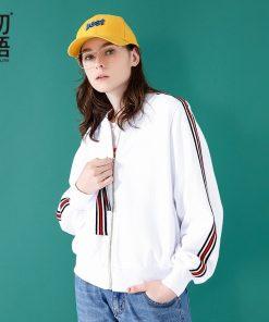 Spring Women's Jacket Oversized Stpried Long Sleeve Bomber Jacket 1