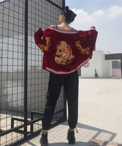 Winter Punk Embroidered Dragon Bomber Jacket Baseball