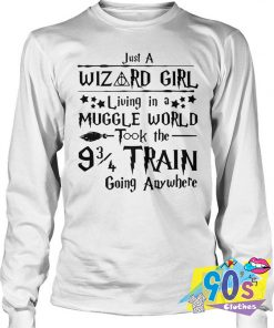 Harry Potter Just A Wizard Girl Living Muggle Word Sweatshirt
