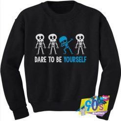 Autism Awareness Dare To Be Yourself Dabbing Skeleton Sweatshirt