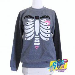 Ribcage Bat Spooky Skeleton Halloween Sweatshirt