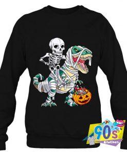 Skeleton Riding Mummy halloween Sweatshirt