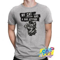 Funny My Cat Has A Bad Attitude Punk T shirt