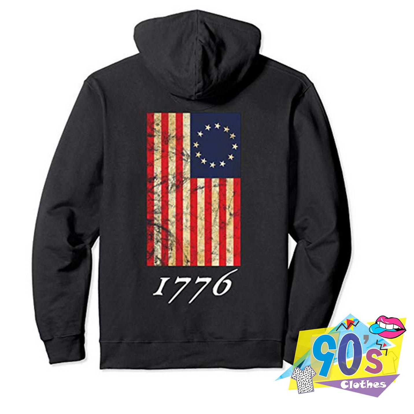 American Betsy Ross Flag Mens Hooded Fleece Sweatshirt Stylish Pocket Pullover