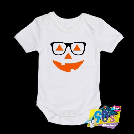Pumpkin Face with Glasses baby Onesie