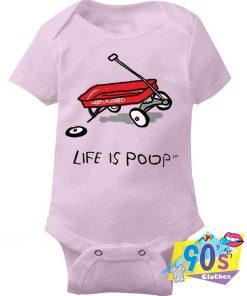 Life is Poop Red Wagon Baby Onesie