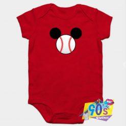 Mickey Mouse Baseball Head Baby Onesie