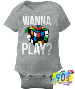 Wanna Play Rubiks Cube Puzzle Baby Onesie