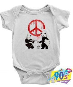 Two Panda Paint Baby Onesie