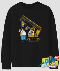 Bulldozer Kevin the Minion and Homer Simpson Sweatshirt