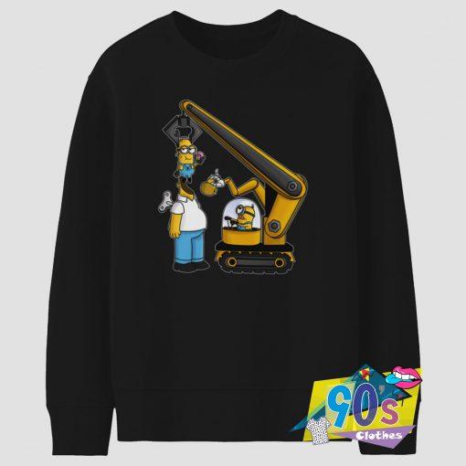 Bulldozer Kevin the Minion and Homer Simpson Sweatshirt