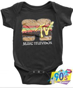 Music Television Hamburger Baby Onesie