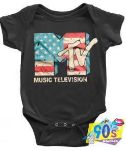 Music Television USA FLAG Channels Baby Onesie