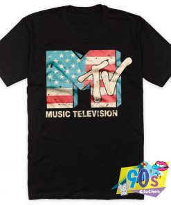 Music Television USA FLAG Logo T Shirt