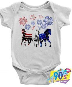 Three Horses With Us Flag Baby Onesie
