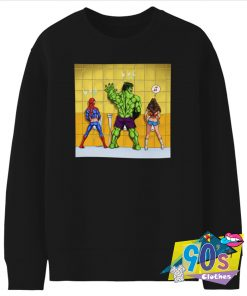 Urination of Hulk and Spider Man Superhero Sweatshirt