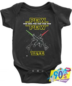 PEW PEW Life Star Wars Space Artwork Baby Onesie