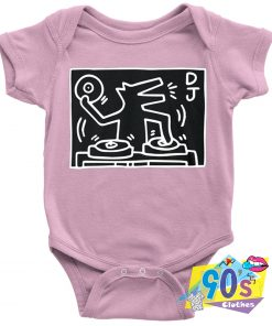 Retro Graphic Keith Haring Dj Dog Baby Onesie